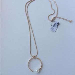 WHBM Abstract Glass Pearl Pendant Necklace - NWT